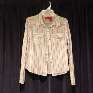 Tops - White and blue stripped button up